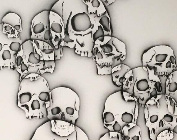Dancing Skulls, Modern Art, Pop Art, Contemporary Art, Black and White, Acrylic Painting, Fine Art