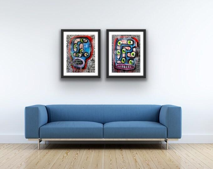 Title: Shifty Eyes Series no. 1 & 2 art, fine art, pop art, modern art, contemporary art, acrylic, art on paper, surreal art, abstract art