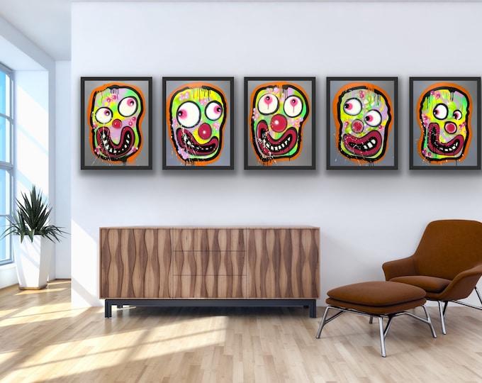 Title: Lemon Lime Faces with Orange Glow Series no. 20,21,22,23,24 Art, Pop Art , Modern Art , Contemporary Art , Portrait , Figurative