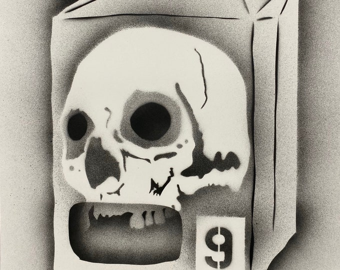 TITLE: skull and bag series #9 Abstract Art , Pop Art , Modern Art , Surreal , Contemporary Art , Figurative Portrait , Black and White