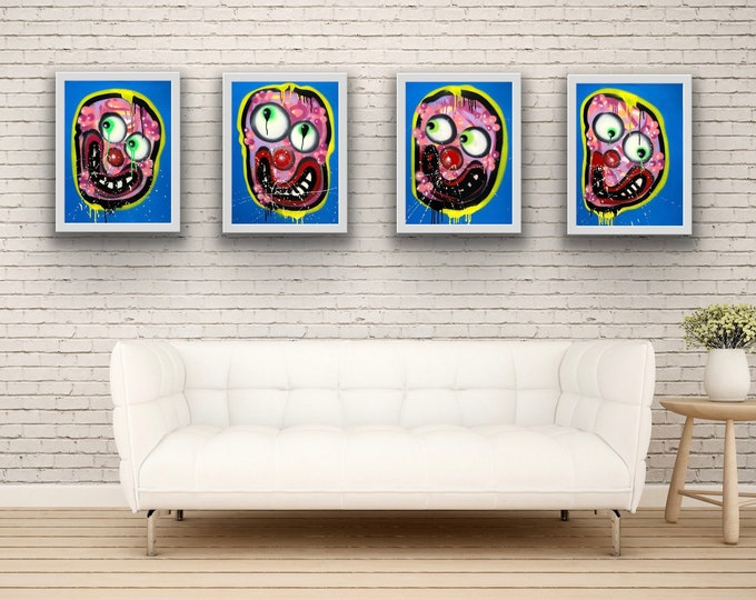 Title: Phizog Series no. 12,13,14,15 , Art , Pop Art , Modern Art , Contemporary Art , Surreal , Portrait , Figurative