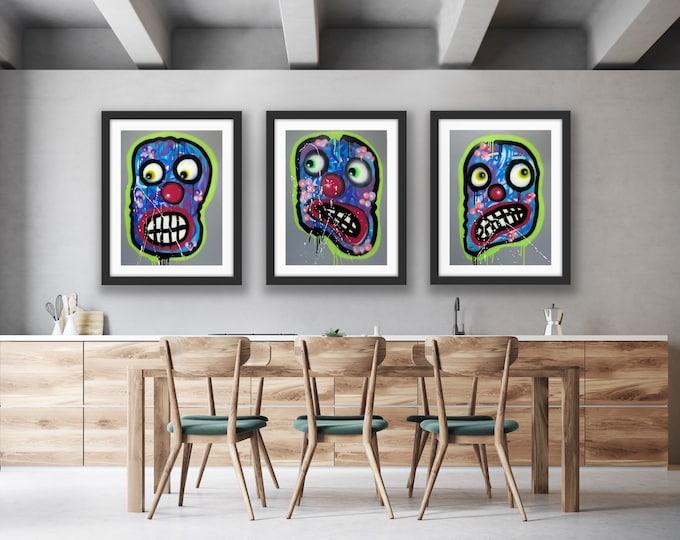 Clowning around with Green Auras: series no. 25,26,27 Art , Pop Art , Modern Art , Contemporary Art , Surreal , Portrait , Figurative