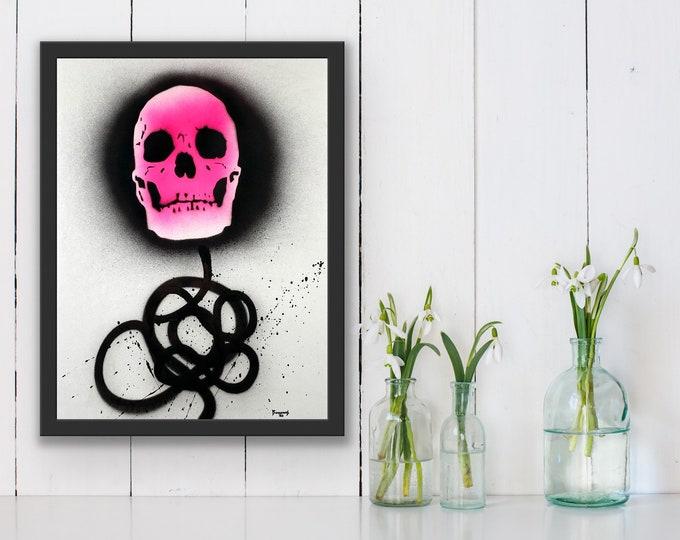 Pink Skull and Scribble , Pop Art , Modern Art , Contemporary Art