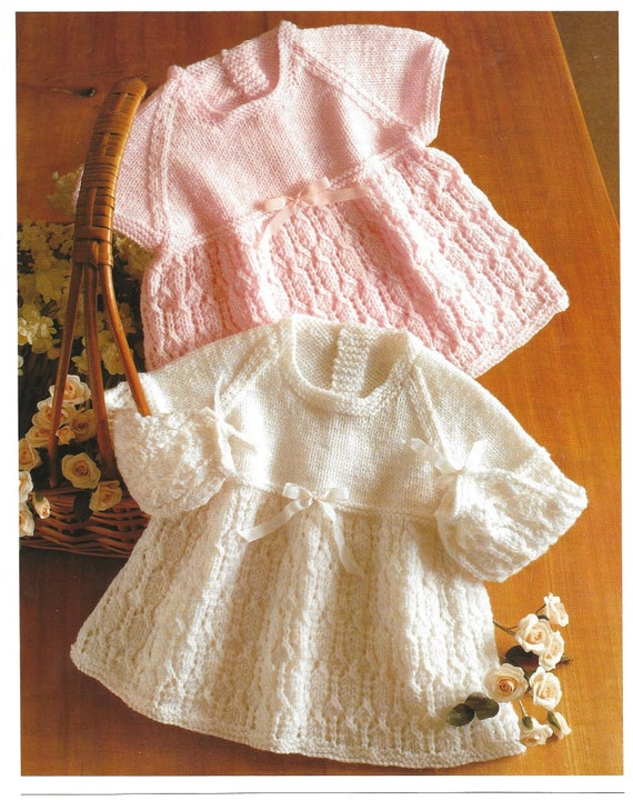Vintage Knitting Pattern Baby Girls Ribbon Dress /& Coat In Either 4-Ply Or D//K