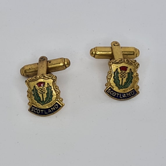 Vintage Cufflinks Brass with Thistle Design in a Small Square