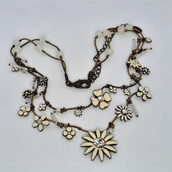 Vintage Enamel Flower Pendant /& Gold Tone Adjustable Chain