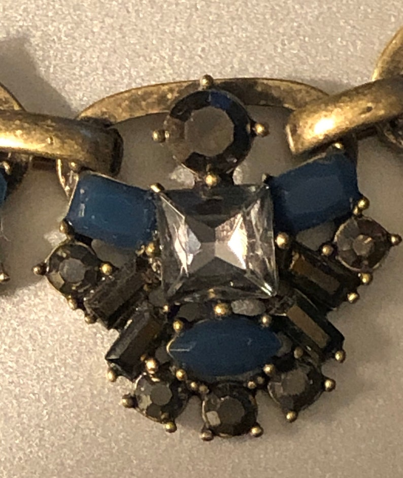 Ann Taylor Loft Necklace Blue Cognac /& clear rhinestones gold tone    Signed