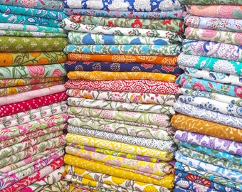 Indian Hand Block Print Soft Fabric Cloth By The Meter, 100 % Pure Cotton Voile Fabric For Dress Making ,Sewing, Crafting, Upholstery
