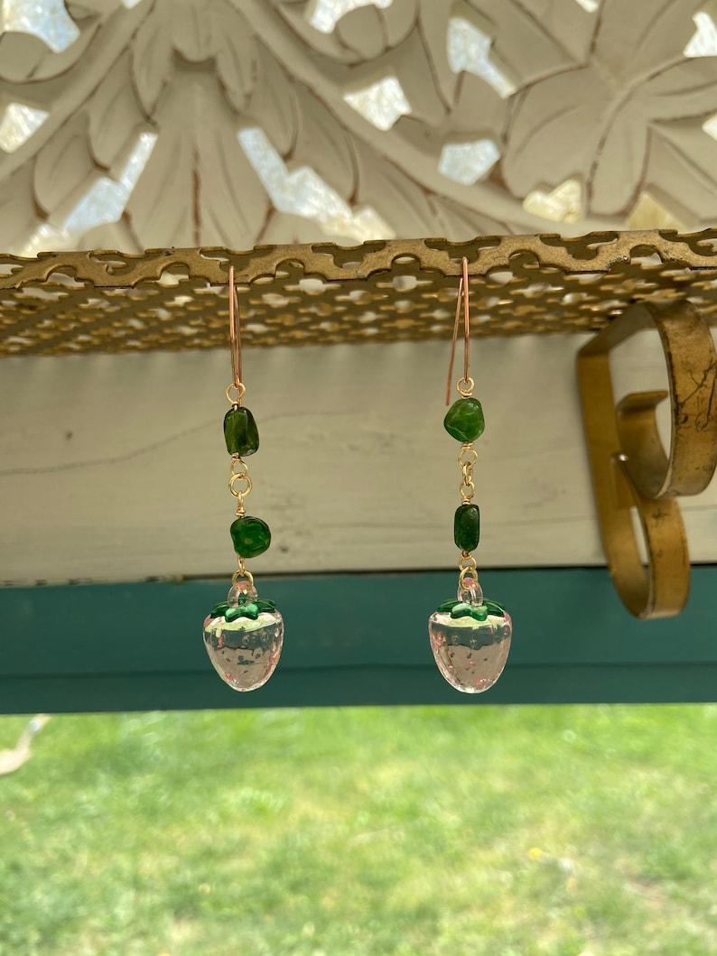 Strawberry Diopside drop earrings