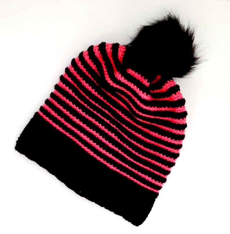 ladies crocheted winter hat pink and black striped slouchy winter hat for women unique handmade winter hat cool striped winter hat
