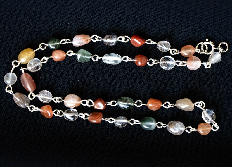 Multicolored Rutilated Quartz Beaded Chain Necklace