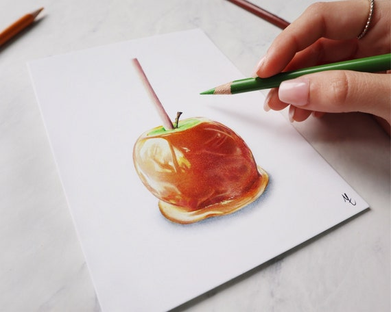 Caramel Apple Drawing Colored Pencil Print Etsy