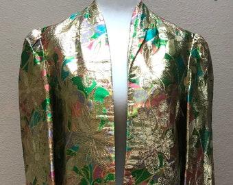 Vintage 1960's gold green pink metallic lamé bell sleeves jacket