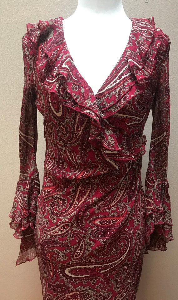 Vintage 1990's red paisley ruffle bell sleeve dres
