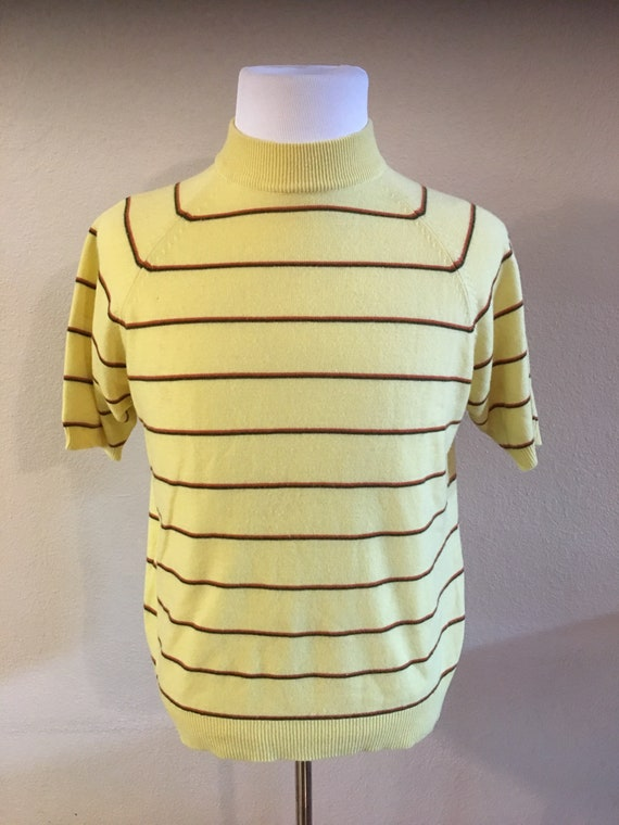 Large XL 60s buttercream yellow boatneck tank top cropped tank top banana yellow retro yellow top 60s vintage clothing 60s vintage top