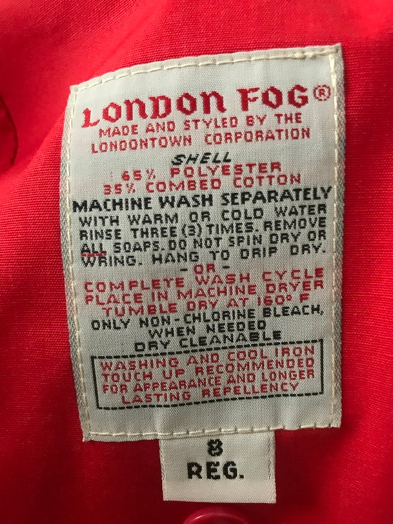Vintage London Fog Trench coat, red, size 8 regul… - image 6