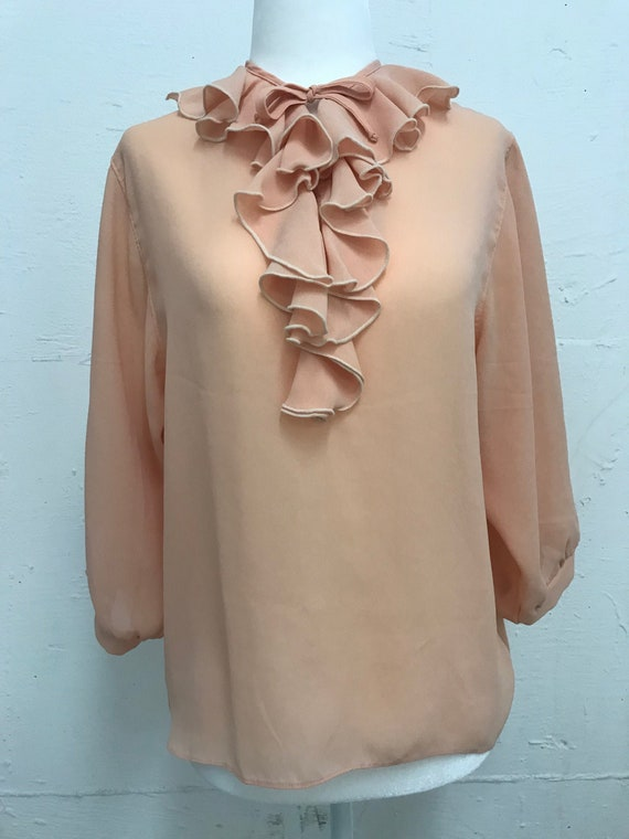 Vintage 1970's sheer peach ruffle blouse
