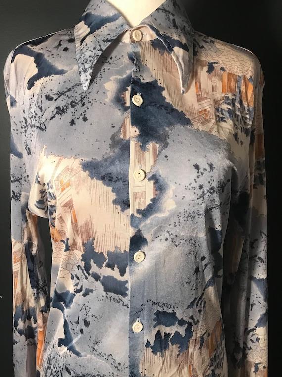 Vintage 1970's disco button up blouse