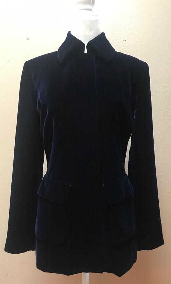 Vintage 1990's navy blue velvet ICB jacket