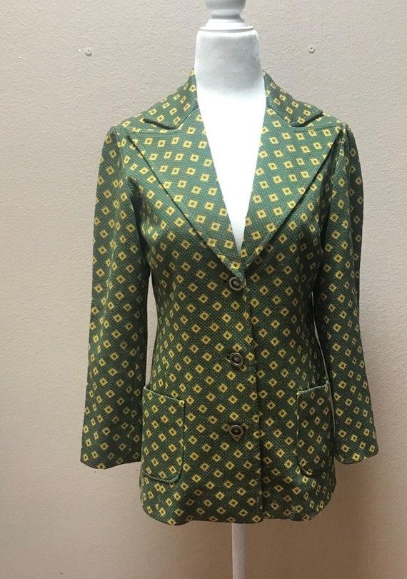 Vintage 1970's green gold suit
