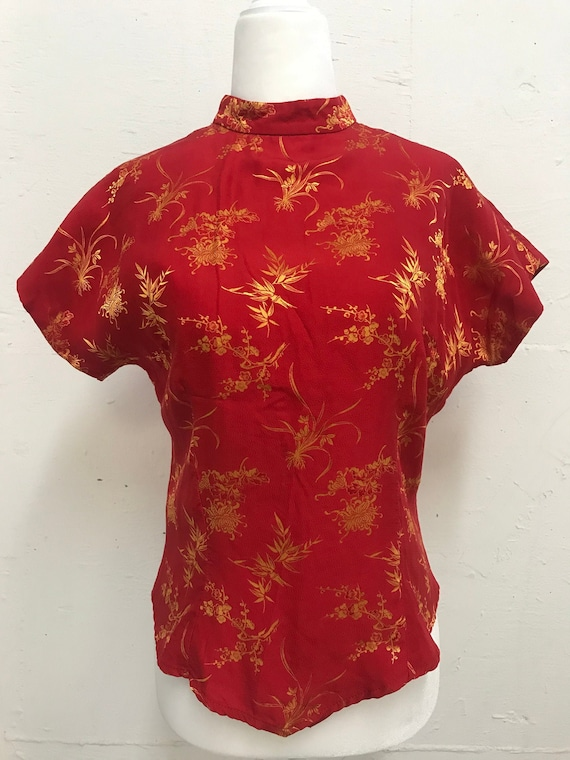 Vintage 1970's red silk satin Chinoiserie blouse