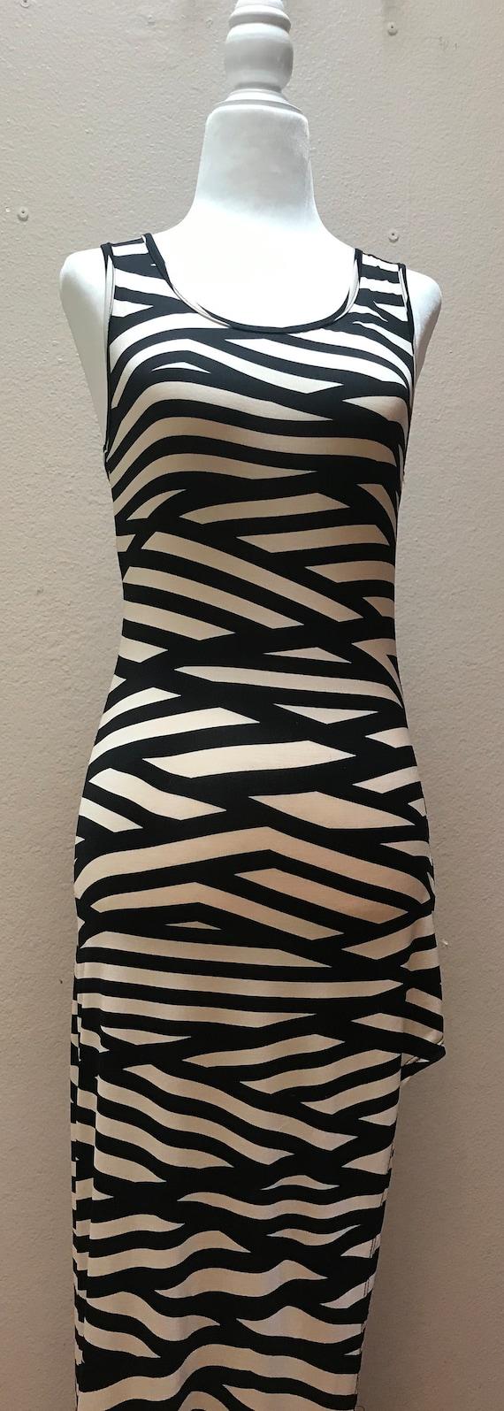 Vintage 1990's black and cream striped dress