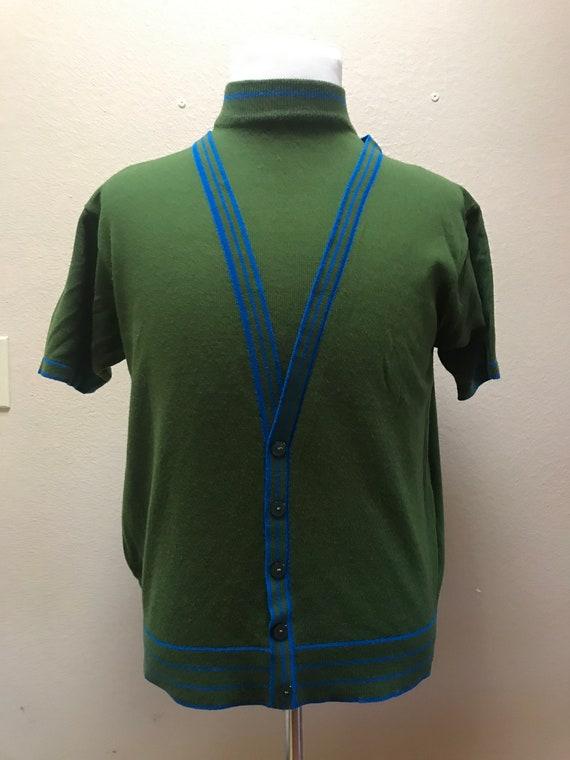 Vintage 1960's knit mens shirt green/blue