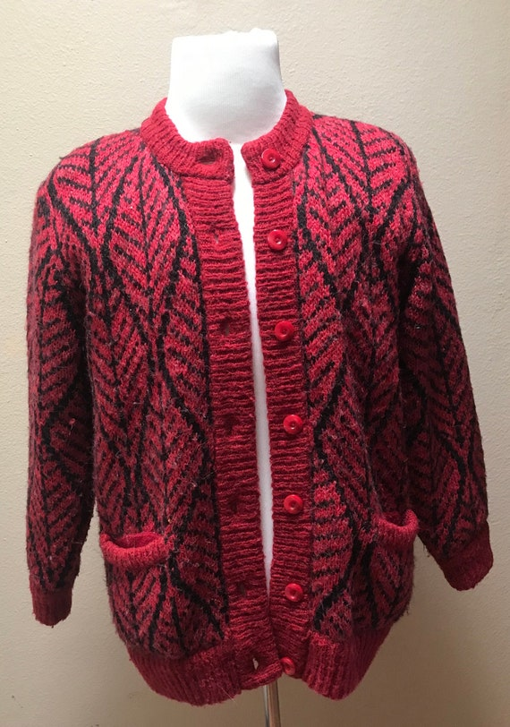 Vintage 1980's red cardigan sweater