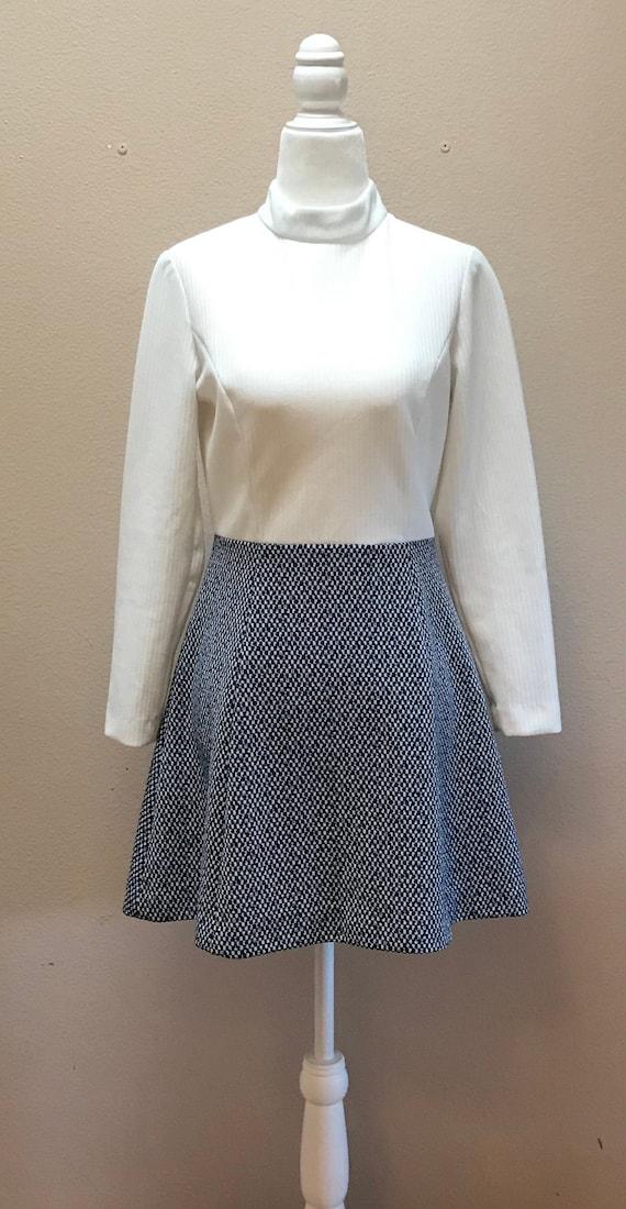Vintage 1970's turtleneck white and blue mini dres