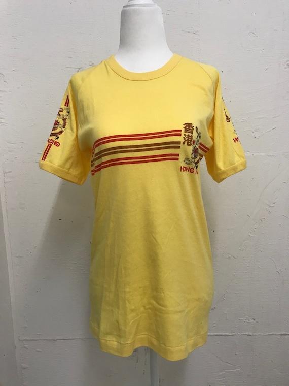 Vintage 1970's Hong Kong yellow and red T-shirt