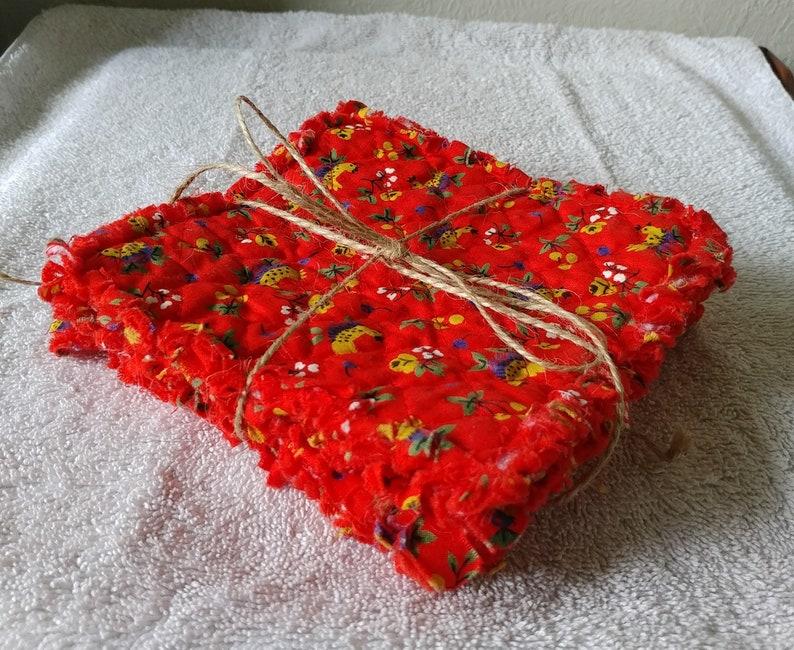 Set of 4 Rag Quilt Mug Rugs Re-purposed Handmade