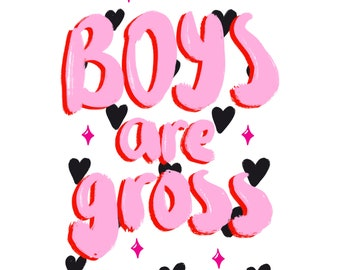 Feminist valentines card, boys are gross, girlfriend, best friend, I love you, greetings card
