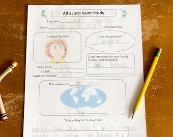 All Saints Saint Study Worksheet Only
