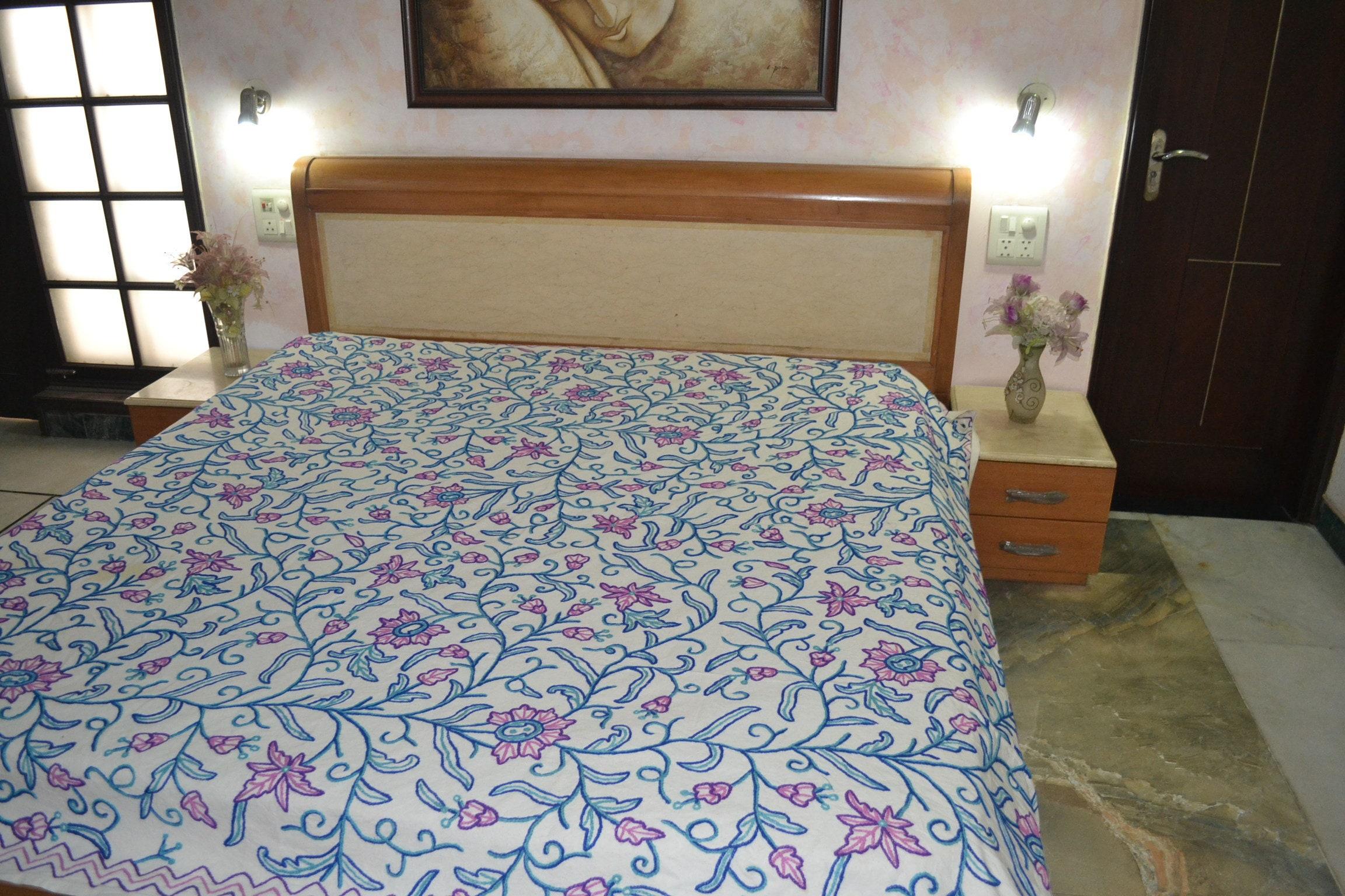 Traditionnel Crewel Brodé Indian Kingsize Bedding Kashmir Handicraft Bedspread Tagesdecke100% Cotton