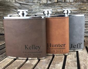 Personalized Leather Flask, Groomsmen Flask, Engraved Flask, Hip Flask, Custom Flask, Monogrammed Flask, Flask for Groomsmen,Groomsman Flask