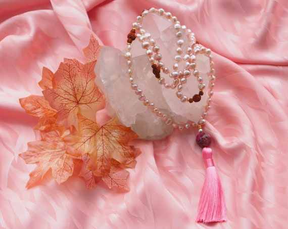 Natural pink pearl 108 (5mm) Japa Mala with Nepali Rudraksha, and purple agate, pink tassel