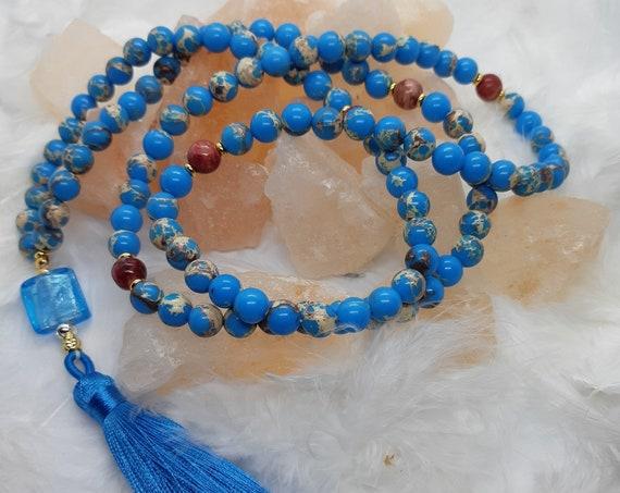 Blue Agate (8mm) Japa Mala - 108 Prayer Beads - Long Beaded Necklace - Balancing Chakras blue tassel