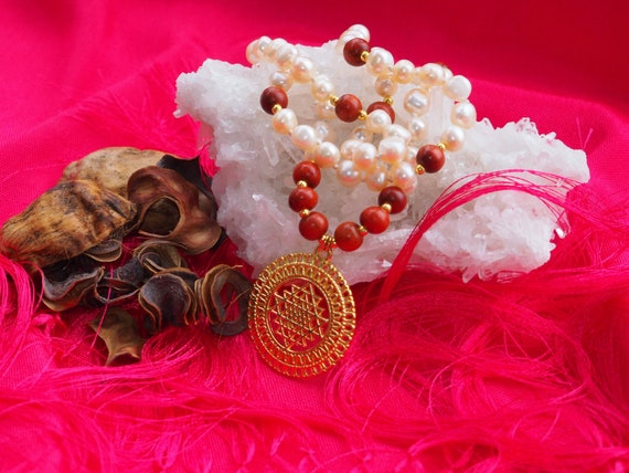 Natural pearls necklace with wooden beads and pendant Shri Yantra
