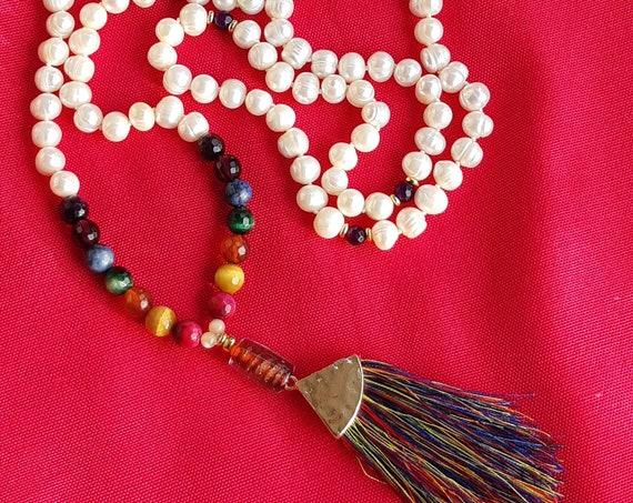 Natural pearl Japa Mala  7 chakras multicolor tassel