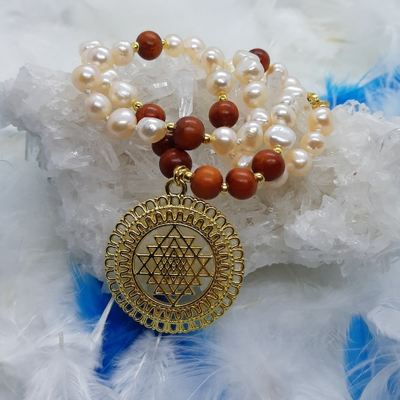 Sri Yantra pendant, natural pearls necklace with  wooden beads