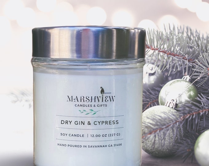 Dry Gin & Cypress Scented Soy Wax Candle, Christmas Tree Scents, cypress scented candle, candle gifts, holiday candles