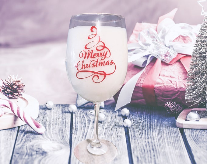 Wine Glass Christmas Candle Set,  Christmas Scented Candles, Christmas Decor, Holiday Candles, Fraser Fir Scented Candles, Wax Melts,