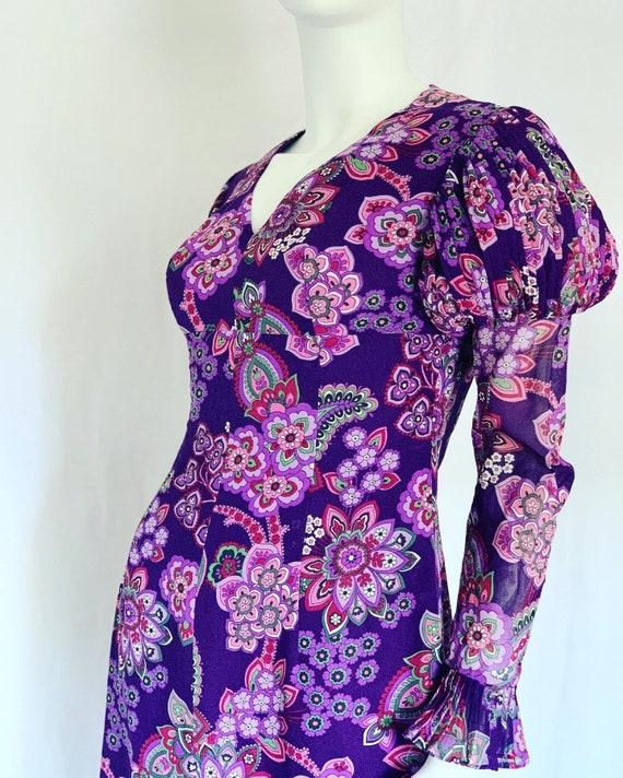 Vintage Boho 1970s Lucie Linden Dress | Purple Pin
