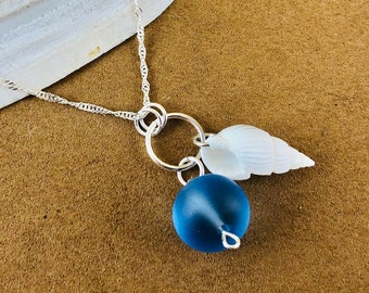 Sea Glass Charm Necklace - Spiral Sea Shell Jewelry - Sterling Silver Necklace - Ocean Sea Glass Jewelry -  Beach Glass Jewelry - Blue