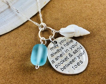 Sea Glass Shell Charm Necklace - Shell in Your Pocket Sand Between Toes - Sterling Silver Necklace - Beach Glass Jewelry - Turquoise