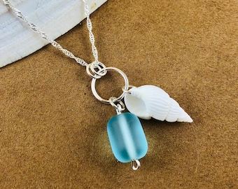 Sea Glass Charm Necklace - Shell Charm Necklace - Sterling Silver Necklace - Ocean Sea Glass Jewelry -  Beach Glass Jewelry - Turquoise Blue