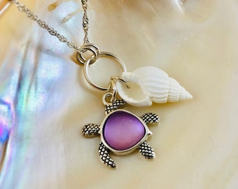 Sea Glass Sea Turtle Necklace - Beach Glass Jewelry - Sterling Silver Necklace - Spiral Sea Shell Charm Necklace - Seaglass Jewelry - Pink