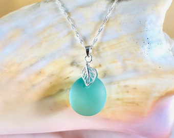 Sea Glass Pendant Necklace - Beach Glass Jewelry - Sterling Silver Necklace - Leaf Jewelry - Elegant Pendant - Seaglass Jewelry - Turquoise