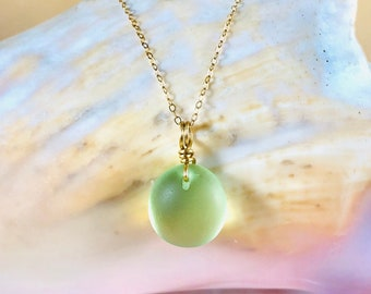Simple Sea Glass Pendant Necklace - Gold Beach Glass Jewelry - 14k Gold Filled Necklace - Unisex Jewelry - Dainty Jewelry - Light Green