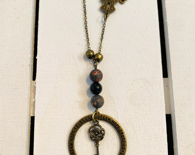 Leopard Jasper & Onyx Antique Necklace